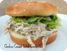Slow Cooker Chicken Caesar Salad Sandwiches - REVIEW: I actually boiled three frozen chicken breasts in the microwave for 20 mins first, shredded the meat, and then put it in the slow cooker with all the ingredients for 2 hours. Tasted great! Will definitely make this again. Hubby loved it.