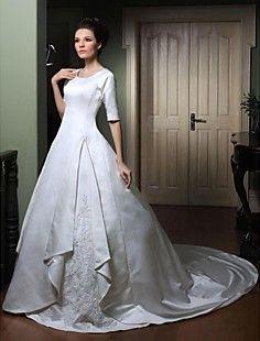 Ball Gown Scoop Half Sleeve Court Train Satin Wedding Dress ... – GBP £ 173.99