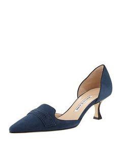 Angedo Kitten-Heel Penny-Strap Pump by Manolo Blahnik at Bergdorf Goodman. Ankle Strap Heels, Pumps Heels, High Heels, Flats, Sensible Shoes, Denim Heels, Manolo Blahnik Hangisi, Kitten Heel Shoes, Fashion Heels