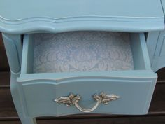 "I love the color, Annie Sloan mix of Provence and whatever ""Louis.""  Hardware…"