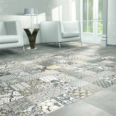 Our Artista Grey tiles consist of random, vintage-inspired patterns. Use them to create a unique floor like no other
