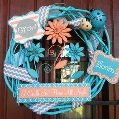 Summer/Spring turquoise and grey chevron small grapevine wreath