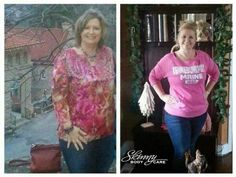 """Karen says...  """"I REALLY DO NOT LIKE showing my Before pic! But I DO because I want you all to know that SKINNY FIBER DOES WORK! I'm a REAL person taking a REAL product that is ALL NATURAL and I LOVE IT!! My before pic shows a smile on my face but it does not show the pain I was in that day from being over weight and my Fibromyalgia! Look at my hand, my hands hurt so bad ,keeping my fingers straight like that was the only relief I could get. It hurt even to hold Hubby's hand that day I lost…"""