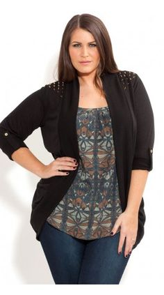 Plus Size Stud Shoulder Cardi - City Chic - City Chic