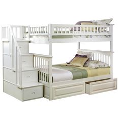 Atlantic Columbia Staircase Bunk Bed over with Raised Panel Bed Drawers in