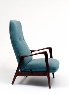 High Back Vintage Danish Reclining Rocking Chair | From a unique collection of antique and modern rocking chairs at https://www.1stdibs.com/furniture/seating/rocking-chairs/