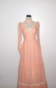 Vintage Dress Peasant Peach with Ivory 70s by CheekyVintageCloset, $64.00