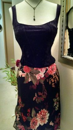 Floral Sheer Lined Size Large Red Black Olive Green Cream Rayon Skirt by Lily  #Lily #FlareSkirt