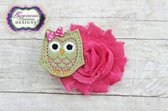 Adorable Olive Owl Hot Pink Flower Clip or Headband by PMDesigns1, $6.75