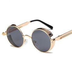 64dbc68096 Metal Round Steampunk Sunglasses Men Women Fashion Glasses Brand Designer  Retro Frame Vintage Sunglasses High Quality UV400