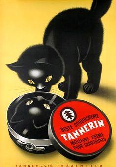 Tannerin Schuhcreme Tannerin shoe polish vintage ad, vintage label #blackcatsrule