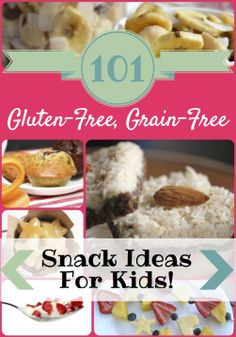 101 Easy, Delicious, Gluten-Free, Grain-Free Snack Ideas for Kids! There is something for everyone: dips, crackers, muffins, cookies, bars, ...