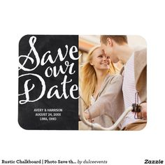 Rustic Chalkboard | Photo Save the Date Wedding Invitation Announcement Rectangular Photo Magnet