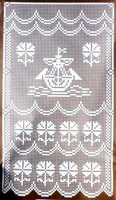 recensione crochet: schema tenda crochet Filet Crochet Charts, Fillet Crochet, Crochet Curtains, Crochet Instructions, All Craft, Doilies, Crochet Patterns, Cross Stitch, Quilts