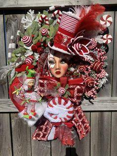 Christmas Mannequin Head Design Luxury Christmas Design | Etsy Styrofoam Head, Christmas Party Decorations, Christmas Crafts, Xmas, Christmas Tree, Candy Wreath, Fall Swags, Seasonal Decor, Holiday Decor