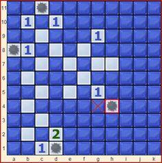 Minesweeper spielen: Aus dem schon fast klassischen Windows-Spiel hat Michael A. Coan eine ganze Sammlung von Brettspielen für 2 und mehr Spieler entwickelt. Minesweeper auf Brettspielnetz ist eine spezielle Variante, speziell optimiert für zugbasiertes Spiel auf Brettspielnetz. Minesweeper ist auch ein naher Verwandter der Rätselgattung Nurikabe.