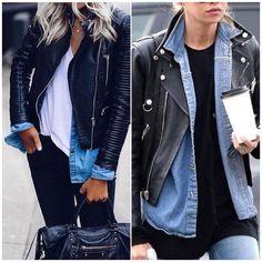 """1,397 curtidas, 16 comentários - Caroline Pasetti&Sheila Liotti (@mulheresdebomgosto) no Instagram: """"Inspire-se nas sobreposições de tshirt + camisa jeans + jaqueta de couro, essa combinação fica…"""""""