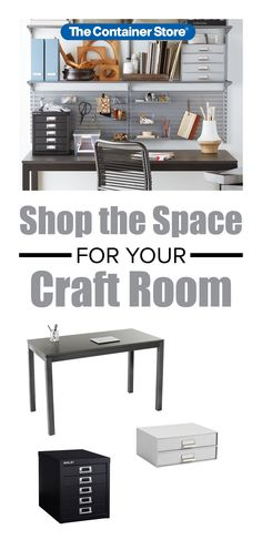 Create more space to create in your craft room with these office and craft room essentials. Room Shelves, Container Store, Room Essentials, Garage Organization, Organizing Your Home, Home Office, Shelving, Decorating Ideas, Scrapbooking