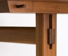 George Nakashima - Studio - Refectory table - lovely use of the through tenon with the wedge, this could be a great addition to the base of the table