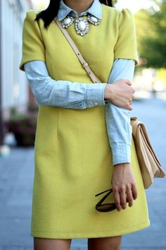 Chambray And Chartreuse  {modest and feminine}