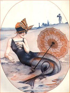 vintagegal: La Vie Parisienne mermaid illustrations c. Mermaid Fairy, Mermaid Tale, Mermaid Beach, Tattoo Old School, Sirens, Look Vintage, Vintage Art, Vintage Travel, Art Quotidien