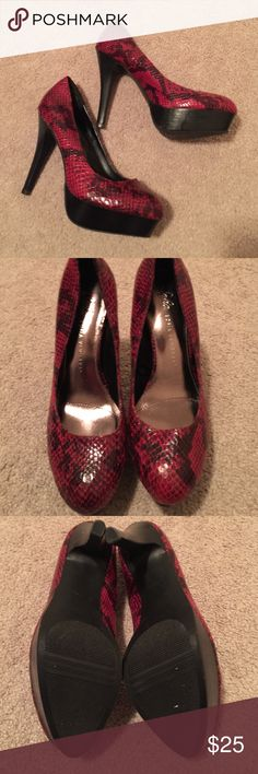 Red Snakeskin Pumps Like new. Will fit 7.5-8. Only worn around the house. 5 inch heels, 1.25 inch platform. Slight scuffs due to storage. Sofia Vergara Shoes