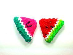 3-D Happy Watermelon Slice Tutorial (Rainbow Loom) by Feelin' Spiffy.