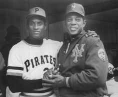 Willie Mays with Roberto Clemente the day after his 3000th hit at the end of the 1972 season