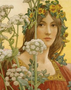 "Elisabeth Sonrel (French, 1874 - 1953), ""Our Lady of the Cow Parsley"" #FlowerShop"