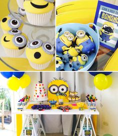 Minion Themed Birthday Party Yellow Blue Kids Girls Boys