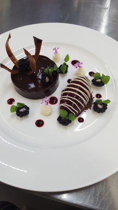 Chocolate delivery, blackcurrant sorbet and fresh brambles