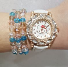 FREE SHIPPING NOW THRU DEC 10th!!! (US)   Fast Shipping using First Class Mail Most packages arrive in 2-5 business days!  Great Holiday Gift, comes in cute box   Watch is Adjustable  Bracelets are stretchable  Check out the rest of my listings for Variations  For More Watch Sets, Click Here https://www.etsy.com/shop/Karitage?ref=listing-shop2-all-items-count&section_id=13513671