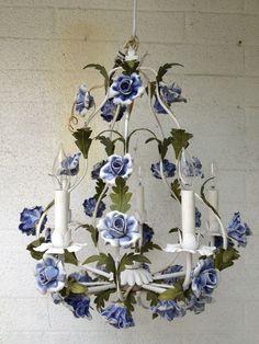 Italian tole blue roses chandelier