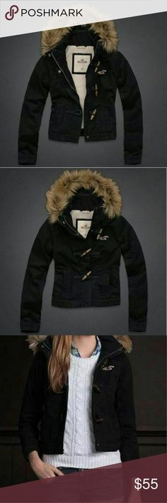 Hollister Moor Park Jacket Faux Fur Lined Hood Hollister Moor Park jacket. Faux fur lined hood. Zips, buttons & toggles closed. Dark navy blue with light brown colored fur trim. Preloved but still in good condition. Size small. Hollister Jackets & Coats