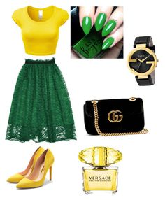 """Spring outfit"" by davidmihaela on Polyvore featuring Versace, Gucci and Rupert Sanderson"