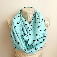 Summer Spring Mint Hearts Print infinity Scarf by HeraScarf