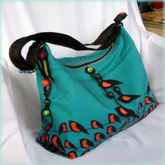 Handmade by Judy Majoros - Birds turquoise-orange denim boho bag. Felt birds-beaded. Recycled bag