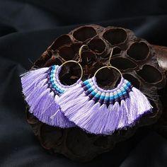 Vintage Weaving Long Tassel Drop Earrings Big Hanging Ethnic Boho Luxury Dangle Earrings Women Jewelry