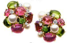 Tourmaline, Peridot, Cultured Pearl, Diamond, Gold Earrings, Seaman Schepps