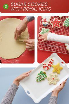 Sugar Cookies with Royal Icing. It's the perfect Publix Aprons® recipe to mak. Christmas Sugar Cookies, Christmas Snacks, Christmas Cooking, Christmas Goodies, Holiday Cookies, Holiday Baking, Christmas Desserts, Holiday Treats, Holiday Recipes