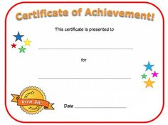 Blank Certificate Of Achievement Template Free Gift Certificate Template, Free Printable Certificates, Certificate Of Achievement Template, Award Certificates, Preschool Certificates, Teaching Tools, Teacher Resources, Nursing Schools In Texas, Nursing Career