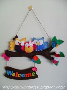 owl welcome sign Diy Home Crafts, Crafts For Kids, Arts And Crafts, Felt Decorations, School Decorations, Art N Craft, Diy Art, Foam Crafts, Paper Crafts