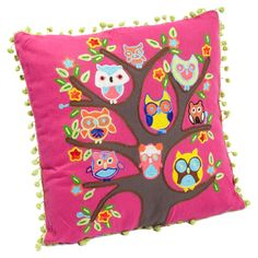 Multicolor cotton pillow with an owl motif and pompom trim. Product: PillowConstruction Material: Cotton coverColor: MultiFeatures: Insert included Pompom detailsDimensions: x Accent Pillows, Throw Pillows, Owl Pillows, Burlap Pillows, Owl Tree, Owl Always Love You, Owl Crafts, Cute Owl, Cotton Pillow