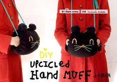 Here's a super cute + folksy DIY kitty hand muff pocket pouch :)