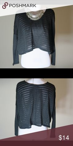 Black Crop Top Sheer Peek-a-boo design. Very comfy. Would look great with a tank. Xhilaration Tops Crop Tops