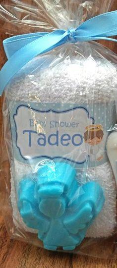 toalla facial y jabon recuerdo bautizo baby shower