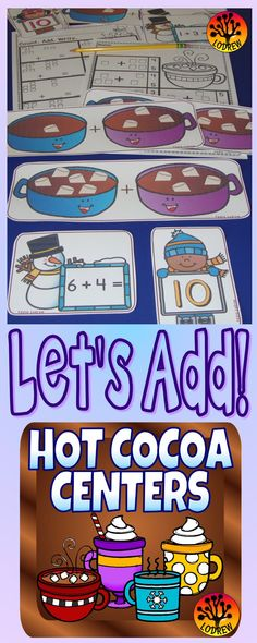 185 pages of hot cocoa centers including literacy, math, positional words, addition, mapping, fine motor skills, writing, subitizing, winter activities, prepositions, spelling, colors, shapes, cardinality, ten frames, counting, number sets, tally marks, cvc words, letter matching, and more. For kindergarten, preschool, SPED, child care, homeschool, or any early childhood setting.