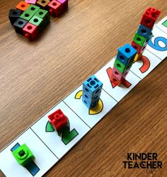 Math Centers for the Beginning of the Year (FREEBIE included!) - A Kinderteacher Life Number tower to show the relationship between numbers Kindergarten Math Activities, Numbers Kindergarten, Math Classroom, Fun Math, Preschool Activities, Lego Math, Preschool Centers, Counting Activities, Teaching Numbers
