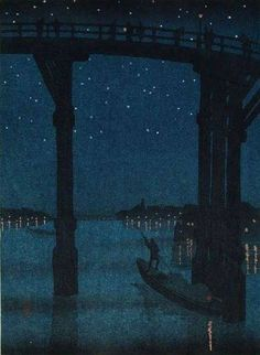 A High Bridge by Night by Eijiro Kobayashi (1870-1946)