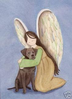 Chocolate Labrador (lab) retriever with angel / Lynch signed folk art print #folkart
